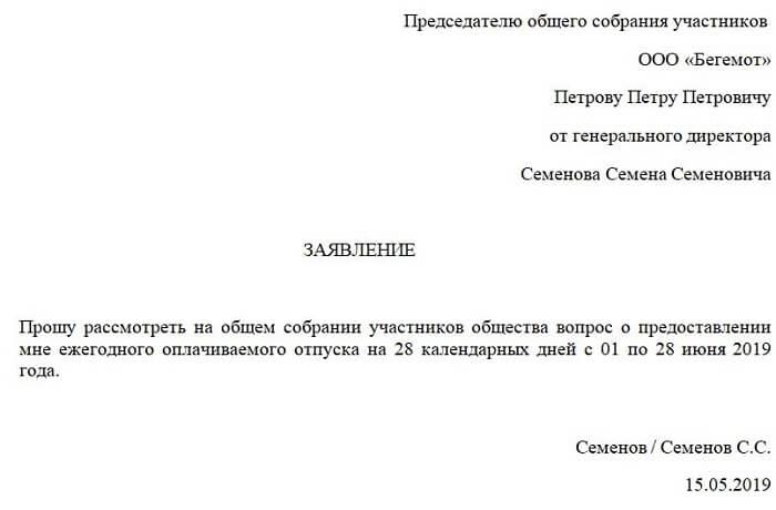 Заявление на отпуск директора