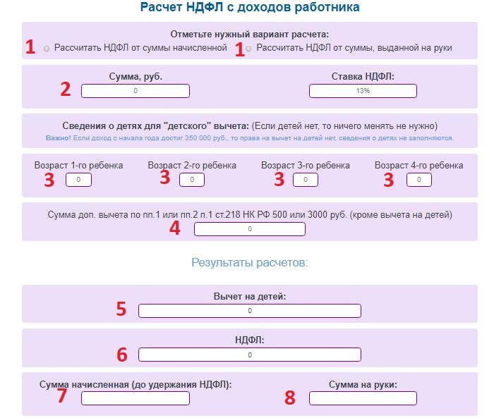 Онлайн калькулятор расчета НДФЛ с вычетами и без них - примеры и формулы