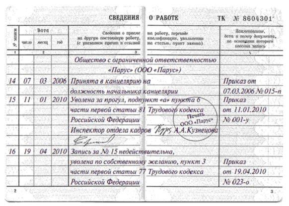 Как сделать запись об увольнении в трудовой книжке - образцы при различных основаниях