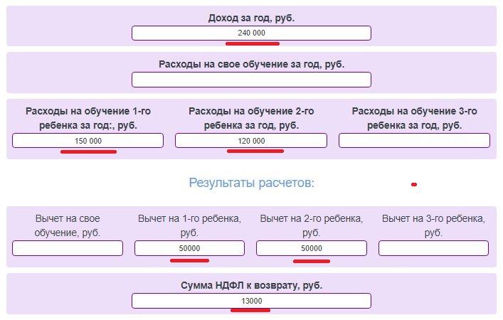 Онлайн калькулятор налогового вычета за обучение - расчет НДФЛ к возврату за детей и себя