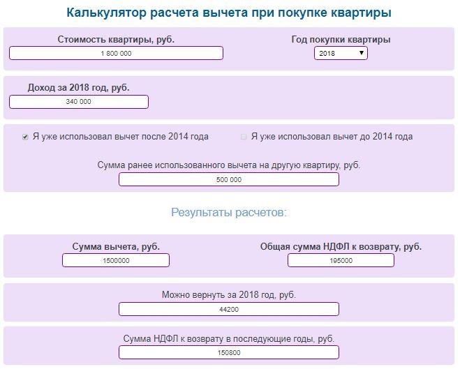 Онлайн калькулятор для расчета налогового вычета при покупке квартиры и НДФЛ к возврату + примеры