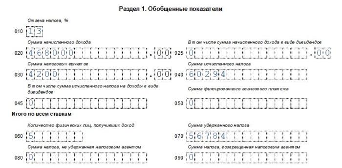 Как заполнять строку 020 расчета 6-НДФЛ - примеры заполнения раздела 1