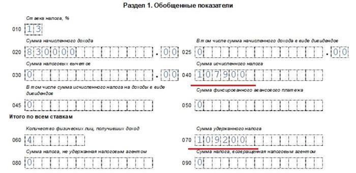 Как заполнять строку 040 в 6-НДФЛ - сравнение с показателем поля 070