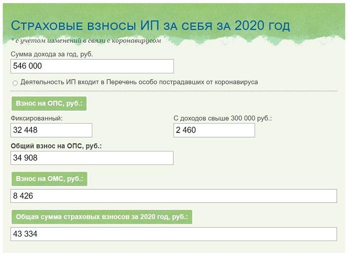 Онлайн калькулятор страховых взносов ИП за себя за 2020 год + примеры расчета